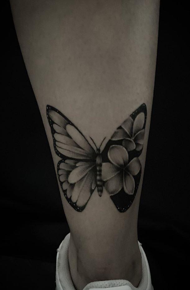 Black & Gray Butterfly Tattoo