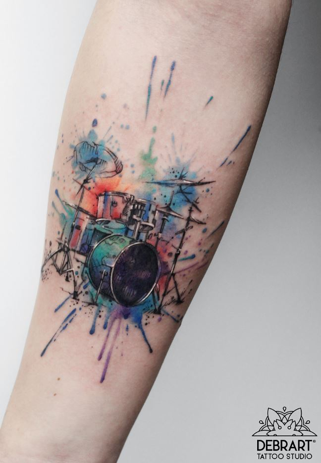 Colorful Drum Tattoo