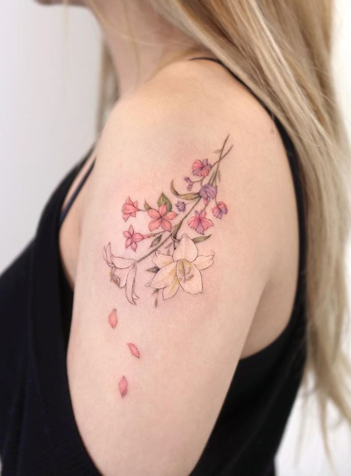 Colorful Flowers Tattoo