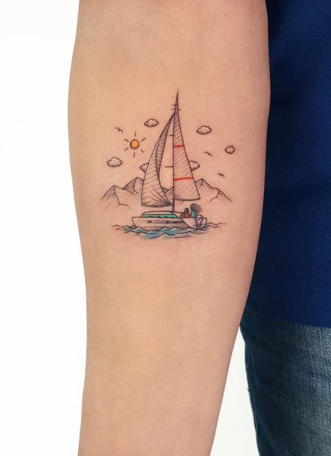 Colorful Sailing Tattoo