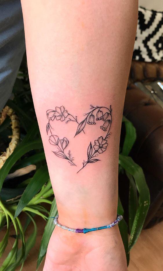 Heart Shaped Flowers Tattoo