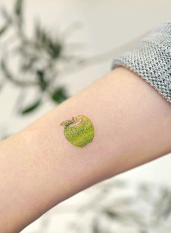 Tiny Green Apple Tattoo