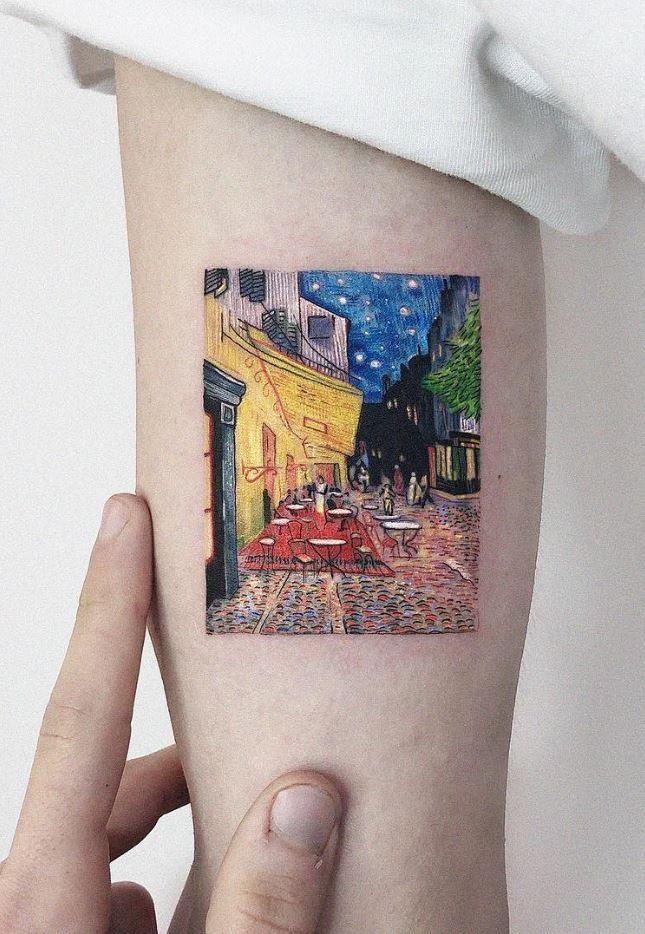 Café Terrace at Night Tattoo