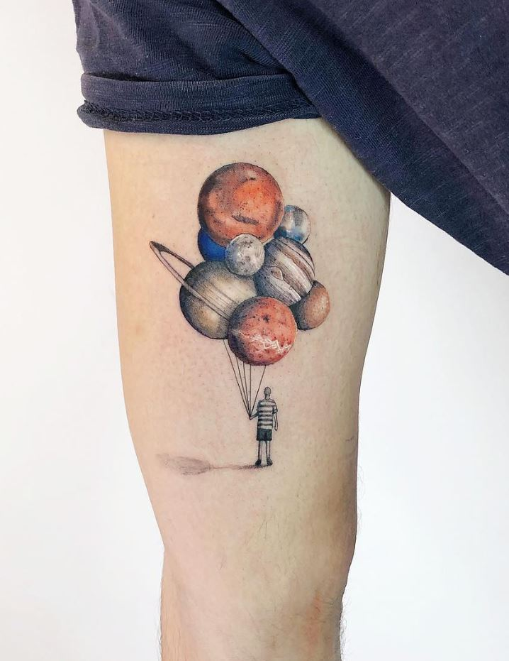 Dreamer With Balloons Tattoo