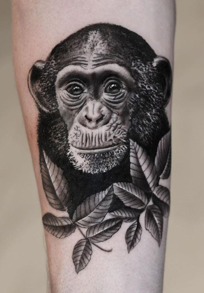 Black & Gray Chimpanzee Tattoo