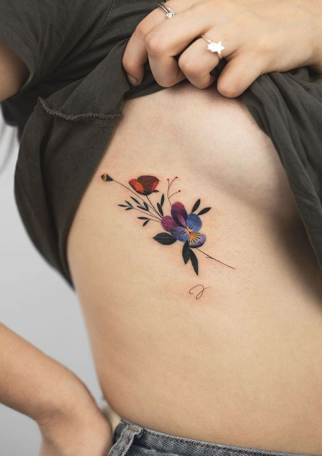 Colorful Flower Tattoo