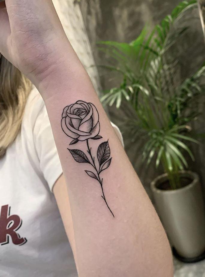 Black & Gray Rose Tattoo