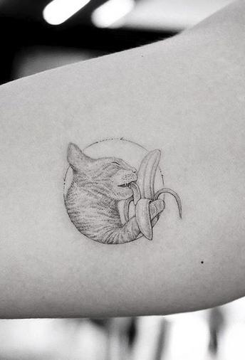 Cat and Banana Tattoo