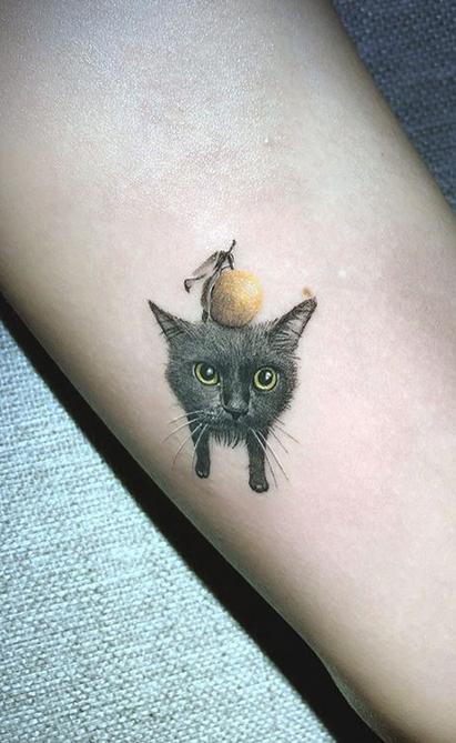 Cat and Orange Tattoo