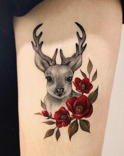 Deer With Flowers Tattoo