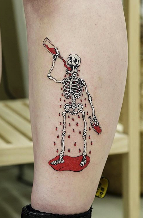 Drunk Skeleton Tattoo