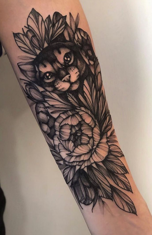 Flower and Cat Tattoo