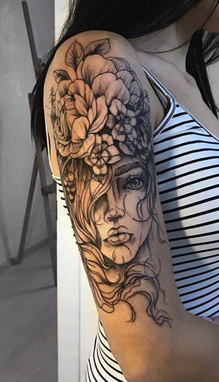 Girl with Flowers Tattoo
