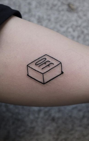 Off Button Tattoo