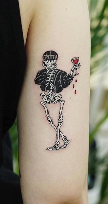 Skeleton and Wine Tattoo