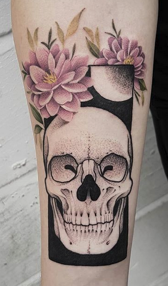 Skull With Flowers Tattoo