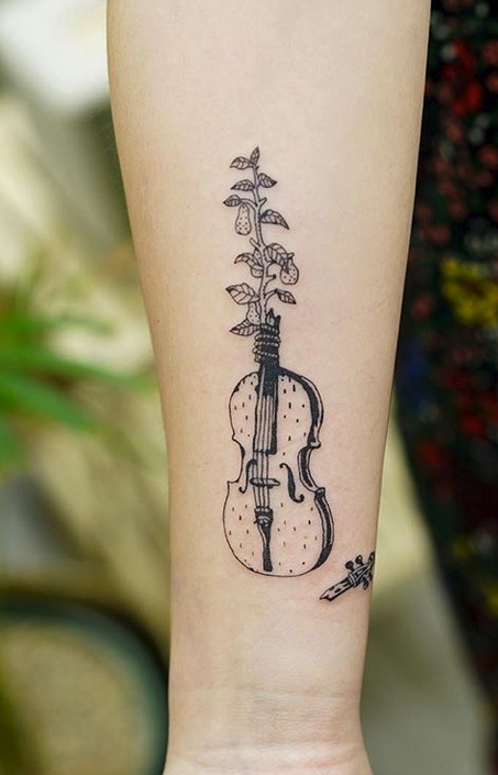 Violin and Sapling Tattoo