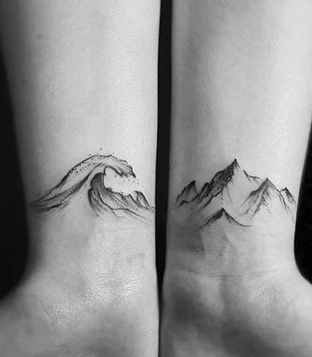 Wave and Mountain Tattoo