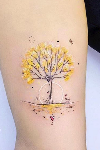 Yellow Tree Tattoo