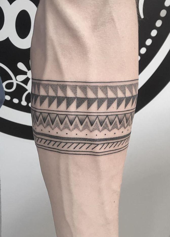 Black And Gray Pattern Tattoo