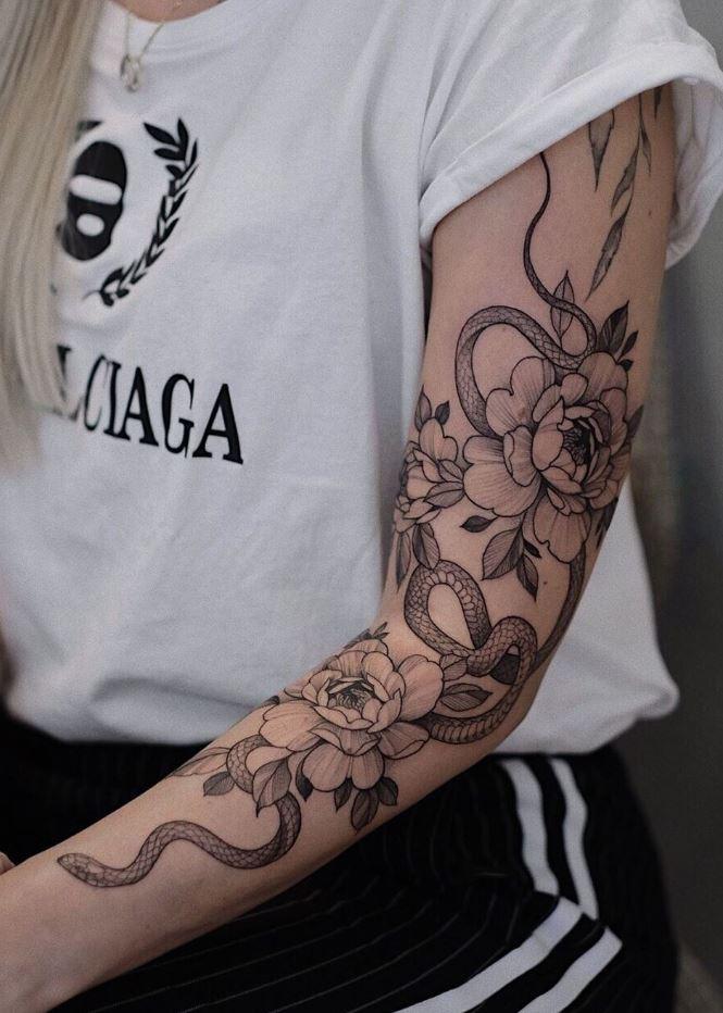 Black And Gray Sleeve Tattoo