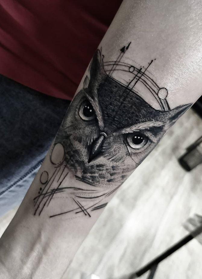Black & Gray Owl Tattoo