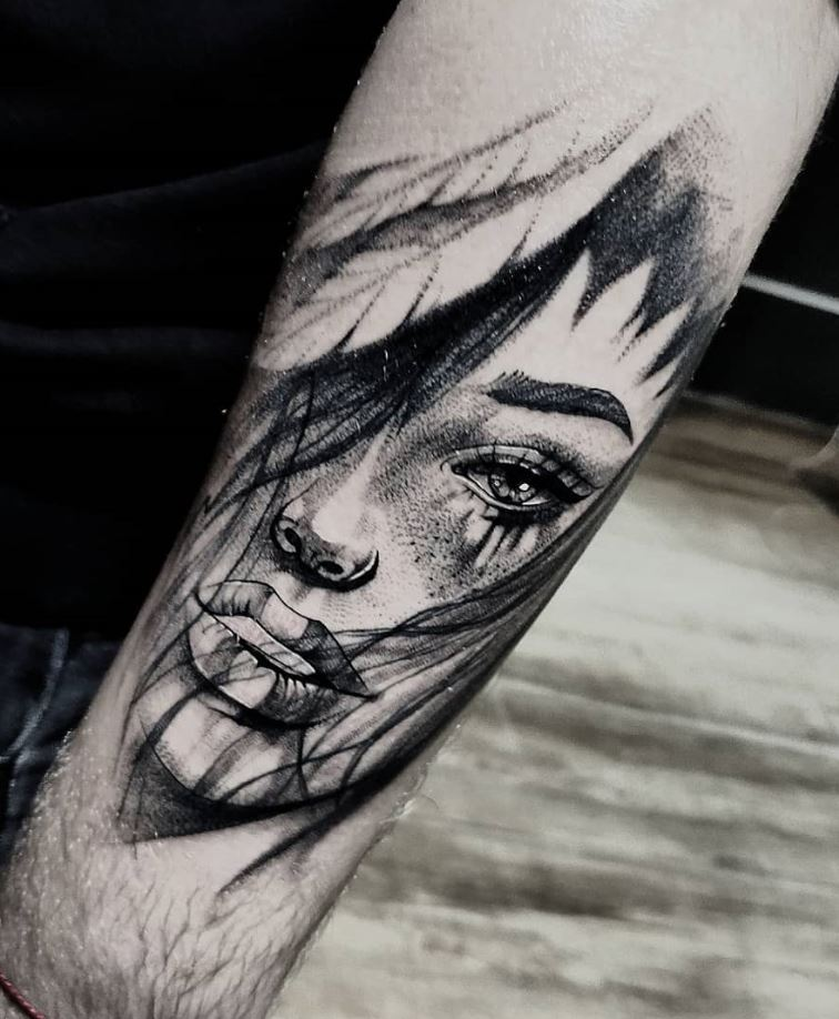 Black & Gray Portrait Tattoo