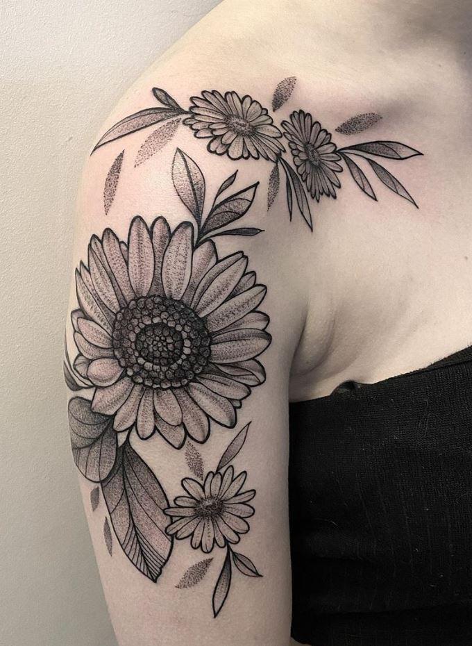 Black & Gray Shoulder Flower Tattoo