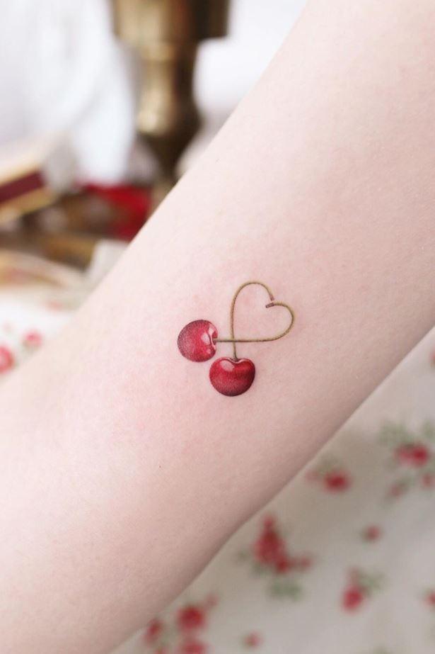 Cherry Heart Tattoo