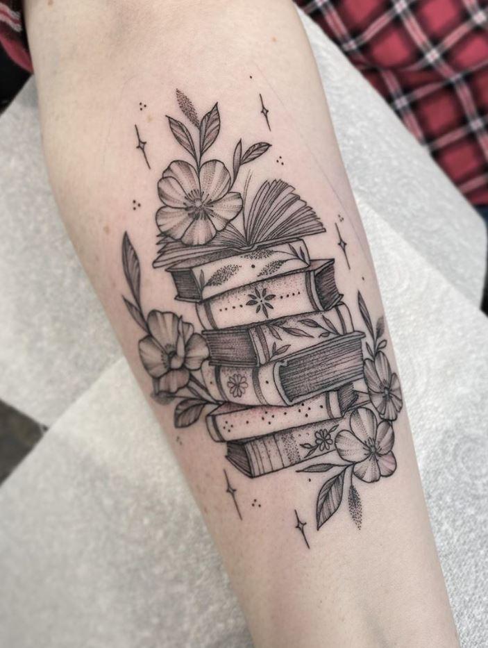 Cute Little Books Tattoo