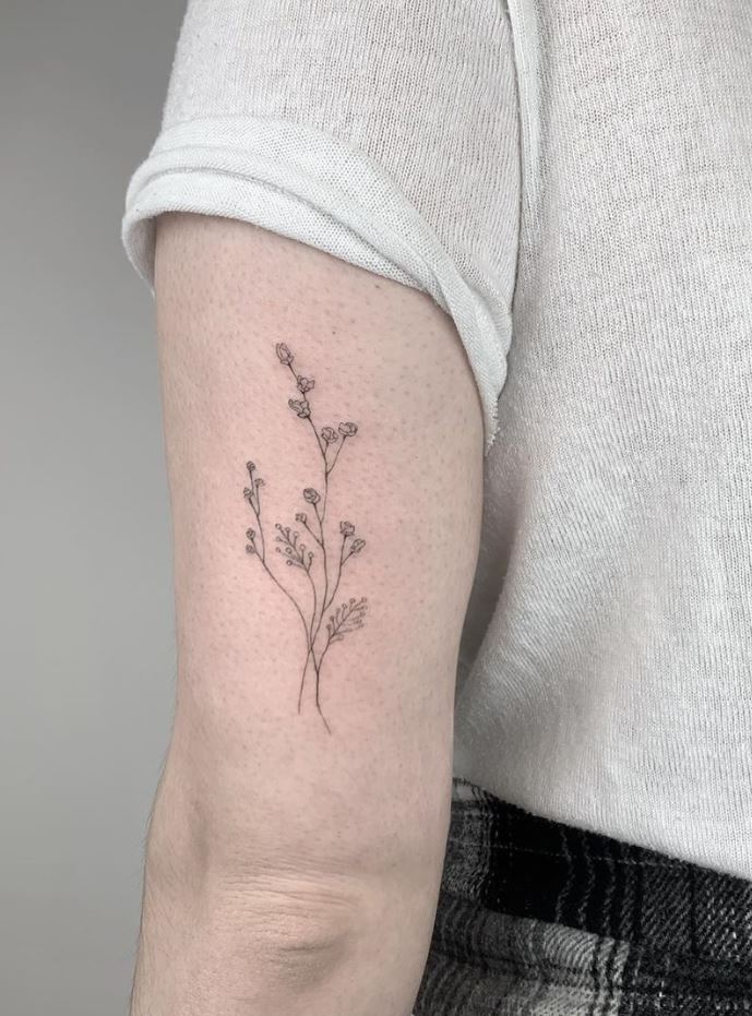 Gray Flowers Tattoo