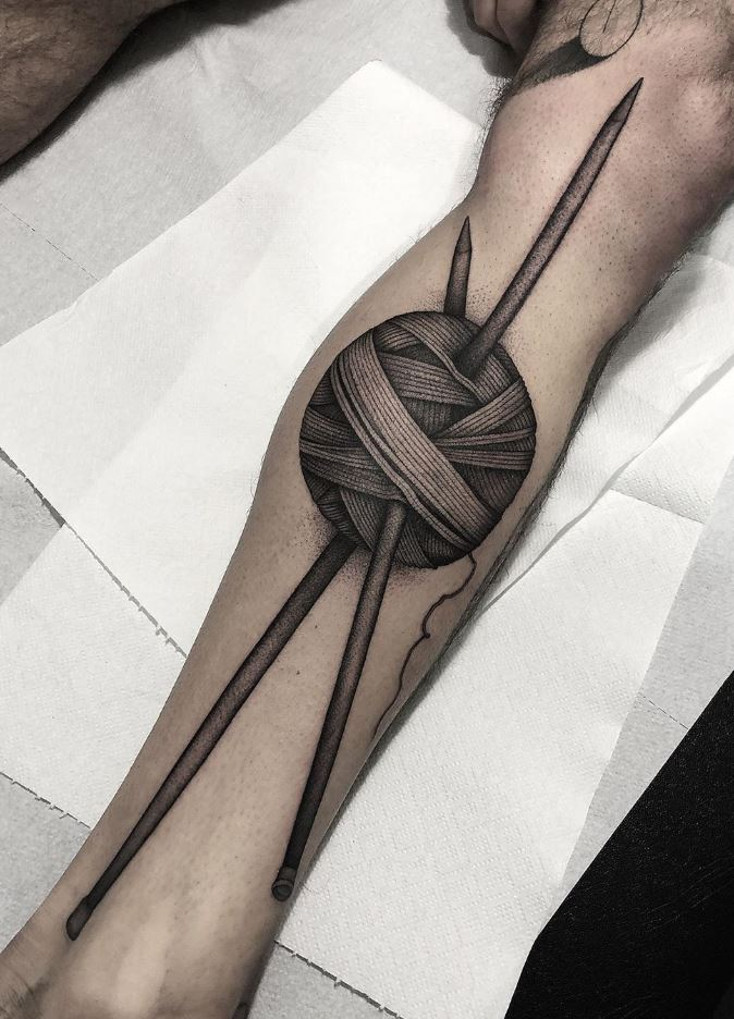 Knitting Needles Tattoo