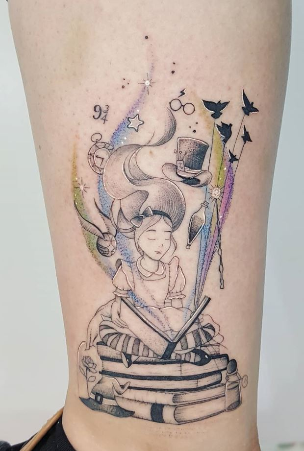 Reading Girl Tattoo
