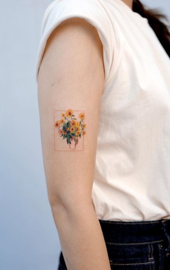 Sunflowers Bouquet Tattoo