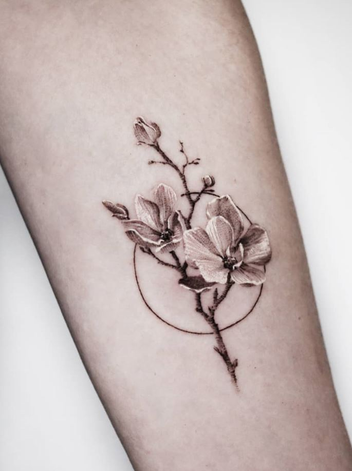 Gray Flowers Tattoo