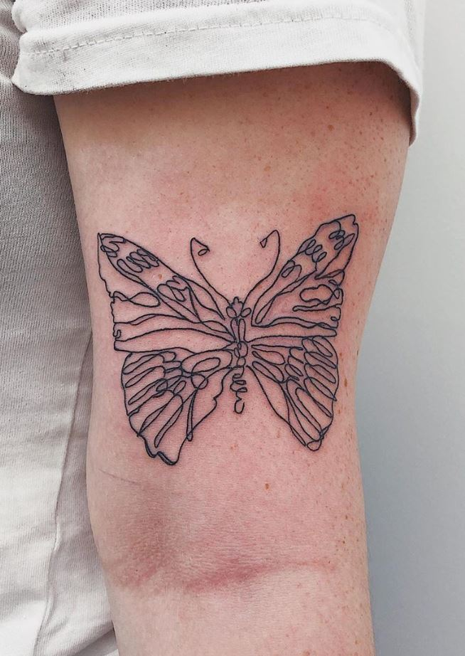 One Line Butterfly Tattoo