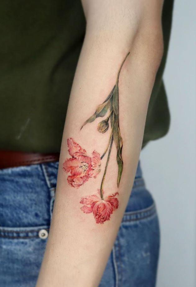 Parrot Tulips Tattoo