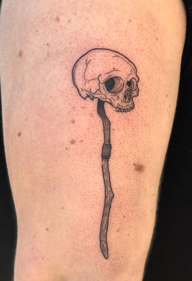 Skull On A Stick Tattoo
