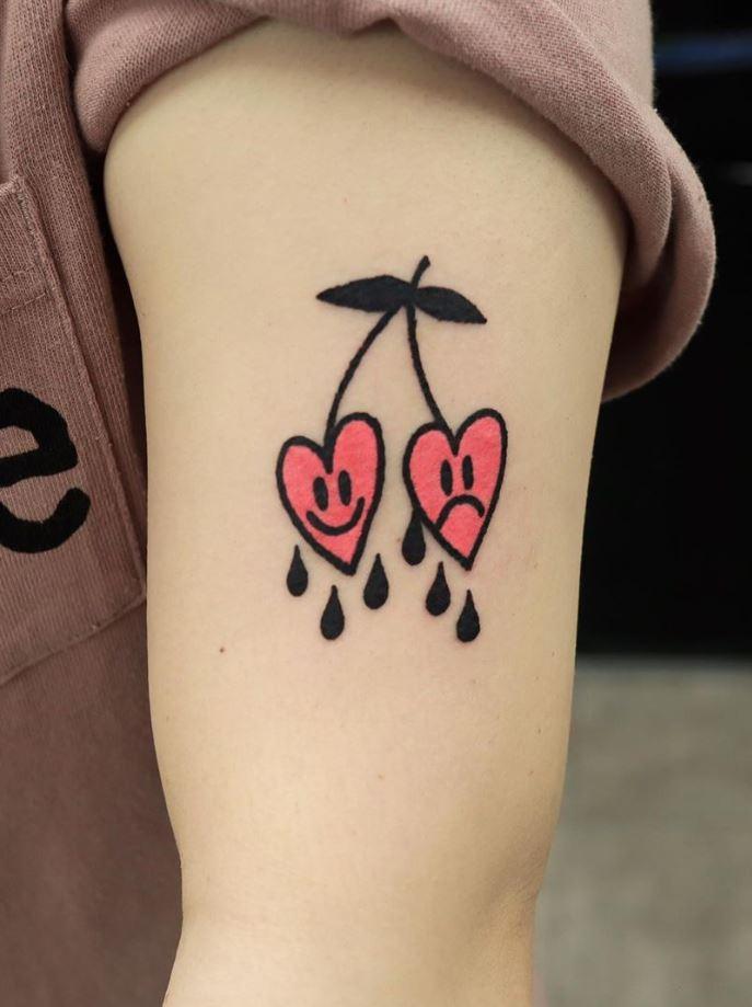 Smiley Cherries Tattoo