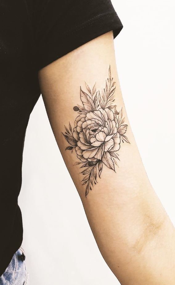 Black & Gray Flower Tattoo