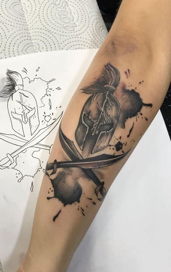 Black & Gray Warrior Tattoo