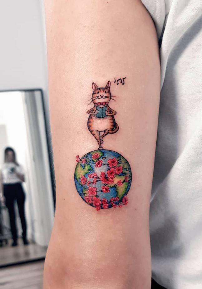 Cat On The World Tattoo