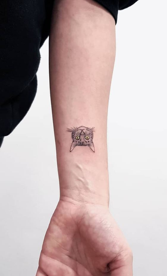 Little Upside Down Cat Tattoo