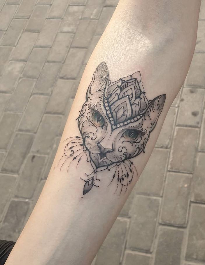 Ornamental Cat Tattoo