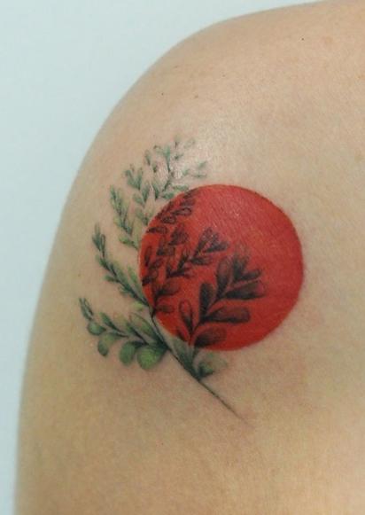 Fern Flower Blood Moon Tattoo