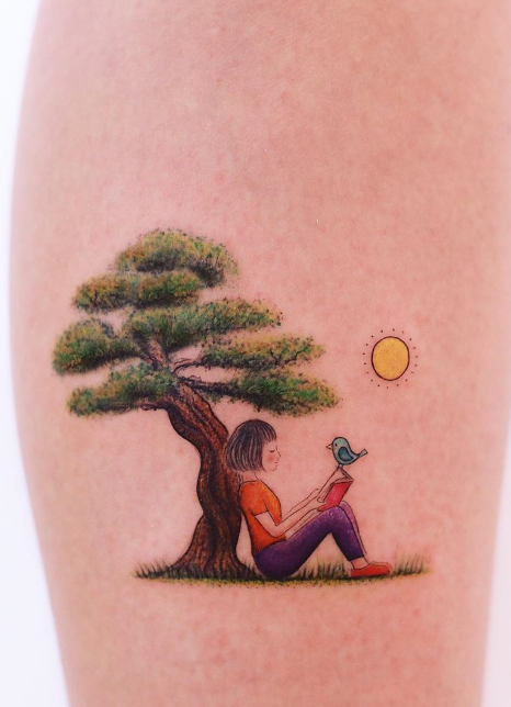 Reading in Nature Tattoo