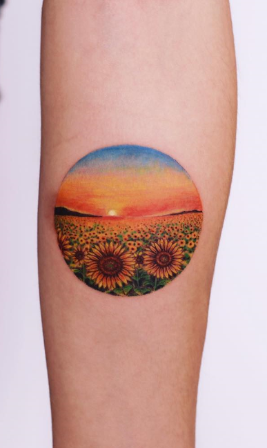 Sunflower Field Tattoo