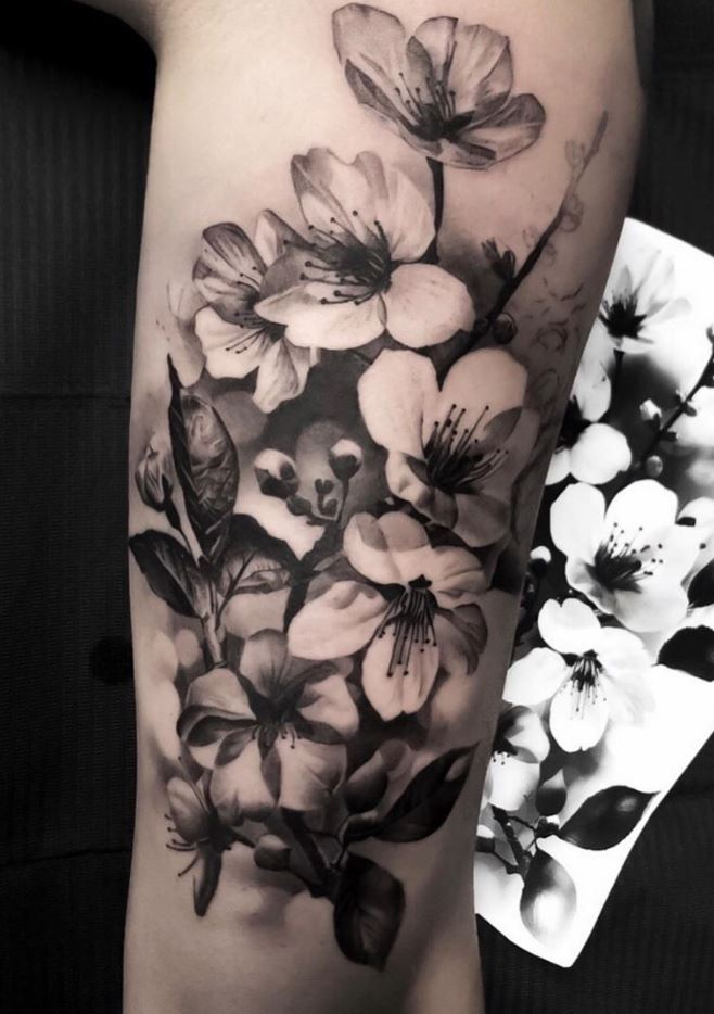 Black And Gray Flowers Tattoo