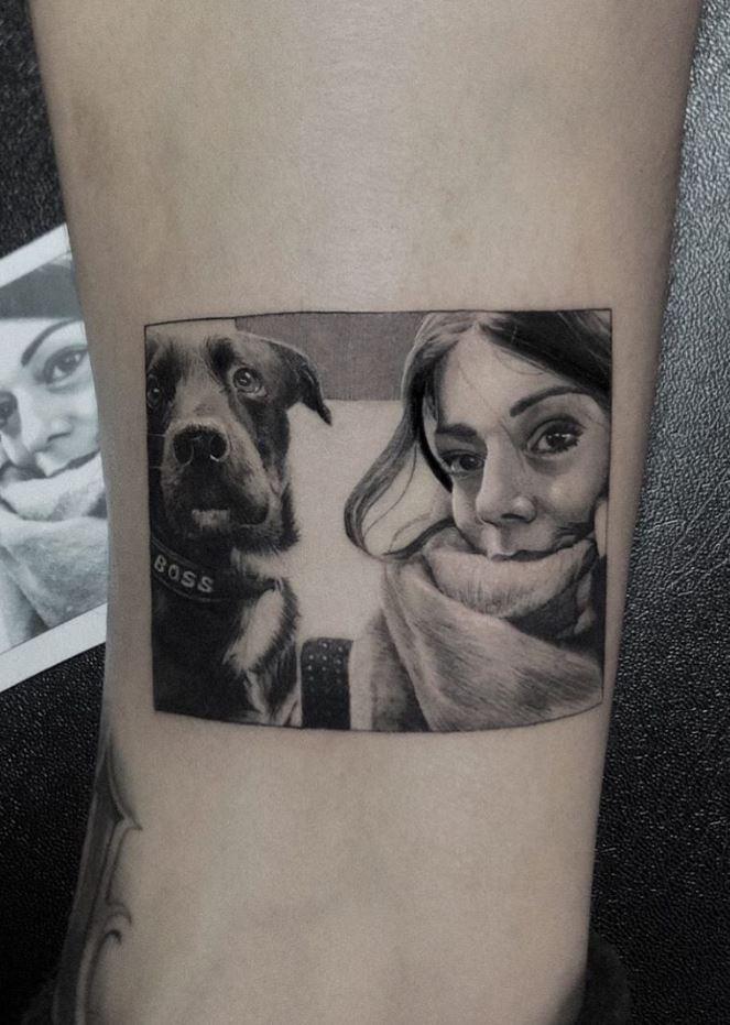 Dog & Girl Tattoo